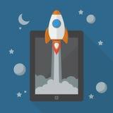 Lanzamiento de Rocket de la tableta Imágenes de archivo libres de regalías