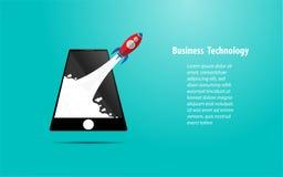 Lanzamiento de Rocket del smartphone Foto de archivo libre de regalías