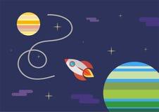 Lanzamiento de Rocket, nave vector, concepto del ejemplo del producto del negocio en un mercado Fotografía de archivo libre de regalías