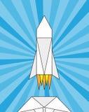 Lanzamiento de un cohete de papel, papiroflexia libre illustration
