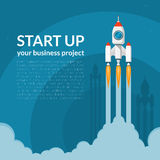 Lanzamiento del cohete de espacio El negocio comienza para arriba concepto libre illustration