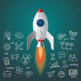 Lanzamiento del cohete de espacio El proyecto del negocio comienza para arriba concepto stock de ilustración