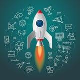 Lanzamiento del cohete de espacio El proyecto del negocio empieza para arriba libre illustration
