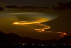 Lanzamiento del misil de Minotaur en la puesta del sol Fotografía de archivo libre de regalías
