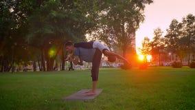 Lanzamiento del primer del acroyoga de entrenamiento femenino y masculino joven en el parque al aire libre Hombre que dobla y que almacen de video