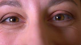 Lanzamiento del primer de la cara femenina joven con los ojos marrones que miran la c?mara con la expresi?n facial sonriente almacen de metraje de vídeo