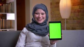 Lanzamiento del primer de la hembra musulmán adulta en hijab usando la tableta y mostrar la pantalla verde mientras que se sienta almacen de metraje de vídeo