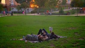 Lanzamiento del primer de los adolescentes de reclinación que ponen en la hierba en parque y los libros de lectura que se relajan almacen de video