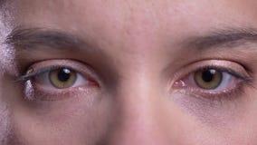 Lanzamiento macro del primer de la cara femenina adulta con los ojos marrones que miran derecho la cámara que centella en el movi almacen de video