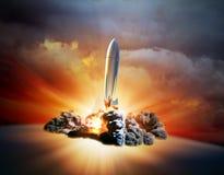Lanzamiento retro del cohete del estilo Imagen de archivo