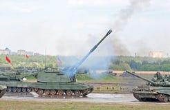 Lanzamientos de la artillería de Msta-S Fotografía de archivo