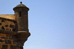 Lanzarote Ισπανία ο παλαιοί πύργος και η αυλάκωση σκοπών κάστρων τοίχων μέσα Στοκ φωτογραφίες με δικαίωμα ελεύθερης χρήσης