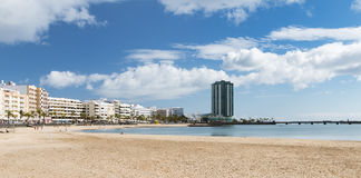 Lanzarote Beach in Arrecife, Spain. Playa del Reducto in Arrecife in Lanzarote, Spain with the city in the background Stock Photo