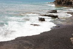 Lanzarote black volcanic sand beach, Canary Islands.  Stock Image