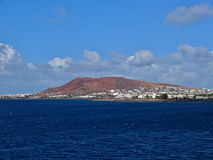 Lanzarote from boat. On the way to Fuerteventura Royalty Free Stock Photo
