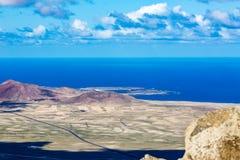 Lanzarote landscape view of blue Atlantic Ocean stock photos