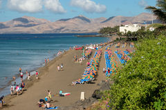 LANZAROTE, CANARY ISLANDS/SPAIN - JULY 30 : People relaxing on a stock photos