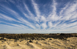 Lanzarote. The coast of Atlantic ocean near town Orzola on Lanzarote, Canary islands, Spain Royalty Free Stock Image