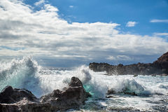 Lanzarote coast. Lanzarote is a Spanish island, the easternmost of the autonomous Canary Islands in the Atlantic Ocean. It is located approximately 125 royalty free stock image