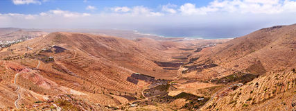 Lanzarote coastline. Panoramic view on east coastline of Lanzarote, Canary Islands Royalty Free Stock Photography