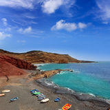 Lanzarote El Golfo Atlantic ocean boats Royalty Free Stock Photo