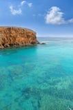 Lanzarote El Papagayo Playa strand i kanariefåglar Arkivfoto