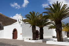 Lanzarote, Femes small mountain village, church Ermita del Rubicon, Canary Islands. Femes in the South of Lanzarote with splendid view, Spain royalty free stock photography
