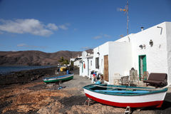 Lanzarote fishing village. Fishing village Playa Quemada on Canary Island Lanzarote, Spain Royalty Free Stock Photo