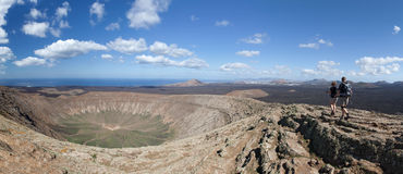 Lanzarote - Hiker on the crater rim of Caldera Blanca Stock Photos