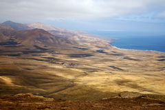 Lanzarote  house field coastline. Lanzarote view from the top in  spain africa and house field coastline Stock Photos