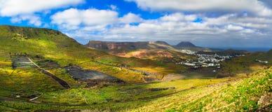 Lanzarote - impressive beauty of volcanic island. Panoramic view stock image