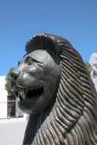 LANZAROTE KANARIEFÅGEL ISLANDS/SPAIN - AUGUSTI 9: Le lejonstatyn royaltyfri fotografi