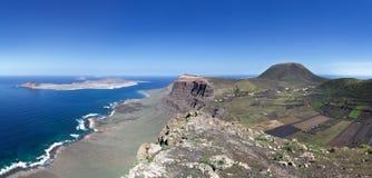 Lanzarote - La Graciosa, Famara Cliff and Monte Corona Royalty Free Stock Image