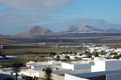 Lanzarote landscape. With specific hills, palms and white houses. Oasis de Nazaret, Canary Islands Stock Photo