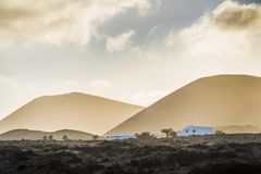 Lanzarote landscape at dusk Royalty Free Stock Image