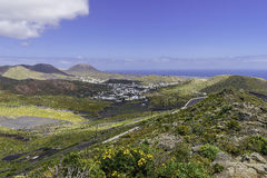 Lanzarote landscape. In the mountains whith small town and road. Canary Islands , Spain Stock Photo