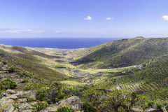 Lanzarote landscape. In the mountains whith small town and road. Canary Islands , Spain Stock Photography