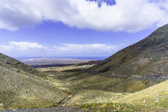 Lanzarote landscape. In the mountains whith small town and road. Canary Islands , Spain Royalty Free Stock Photos