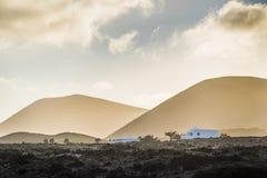Lanzarote landskap på skymning Royaltyfri Bild