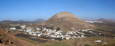 Lanzarote - Montana Blanca with the Monte Guatisea Stock Images