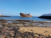 Lanzarote, navio afundado fotografia de stock royalty free