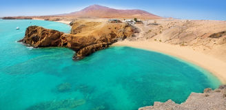 Lanzarote Papagayo turquoise beach and Ajaches Stock Photos