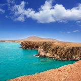 Lanzarote Papagayo turquoise beach and Ajaches Stock Images