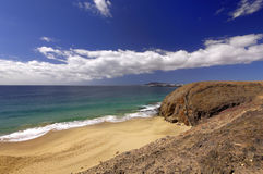 Lanzarote Papagayo turquoise beach and Ajaches in Canary Islands Royalty Free Stock Photos