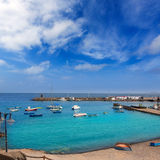 Lanzarote Playa Blanca beach in Atlantic Stock Photos