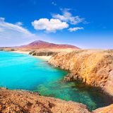 Lanzarote Playa del Pozo海滩肋前缘Papagayo 免版税库存图片