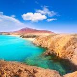 Lanzarote Playa del Pozo strandcosta Papagayo Royaltyfria Bilder