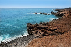Lanzarote Punta del volcan Atlantic sea Royalty Free Stock Photos