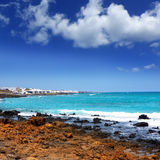 Lanzarote Punta Mujeres volcanic beach in Canaries. Lanzarote Punta Mujeres volcanic beach in Canary Islands Stock Images