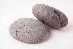 Lanzarote`s volcanic stones. Lava rocks  in the studio on white background Stock Images